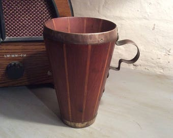 Mid century Arts and crafts c1950s parquetry wood and hand beaten copper tankard arts and crafts tankard hand beaten copper arts crafts cup