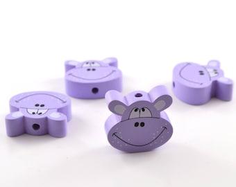 1 wood hippo purple bead