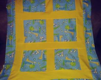 Yellow & blue giraffe flannel, pieced crib baby quilt handmade