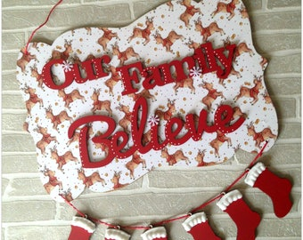 Christmas Our Family Believe Wooden Plaque Personalised Stockings Decoration