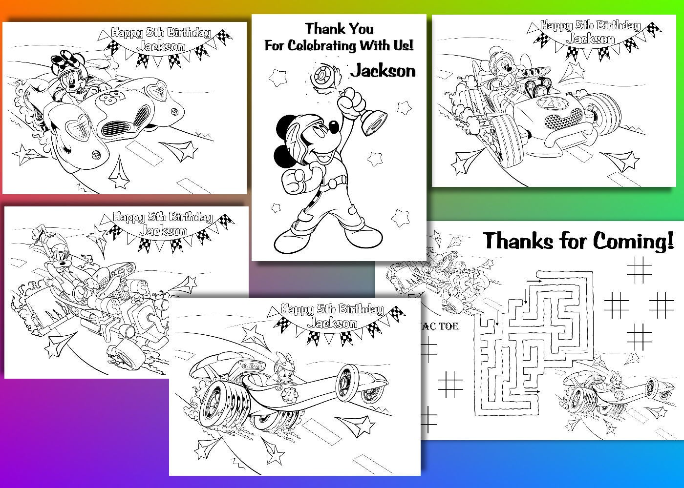 mickey and the roadster racers coloring pages - mickey and the roadster racers birthday party favor mickey
