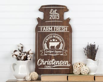 Personalized Milk Can Shape Farmhouse Style Wood Cutout Sign. 2 Sizes - 9 Colors. Last Name/Year, Country Vintage Wedding Housewarming Decor