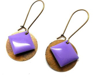 Earrings sleepers bronze round sequin and purple enameled