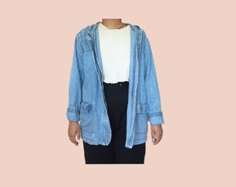 denim blue utility coat / denim jacket // vintage // size medium