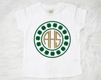 St Patrick's Day Monogrammed Shirt, Personalized Shamrock Shirt, Monogrammed Shamrock Shirt, Girls St Patricks Day