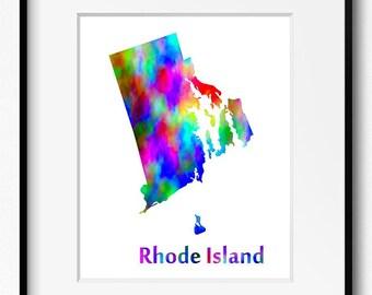 Rhode Island State Map Watercolor Art Print (112)