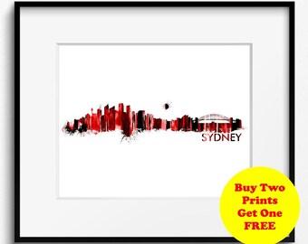Sydney Skyline Watercolor Red Art Print (450) Cityscape Australia