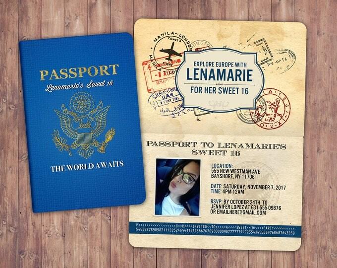 ANY AGE, Sweet 16, birthday invitation, travel invitation, destination, passport invitation, birthday invitation, travel theme, travel party
