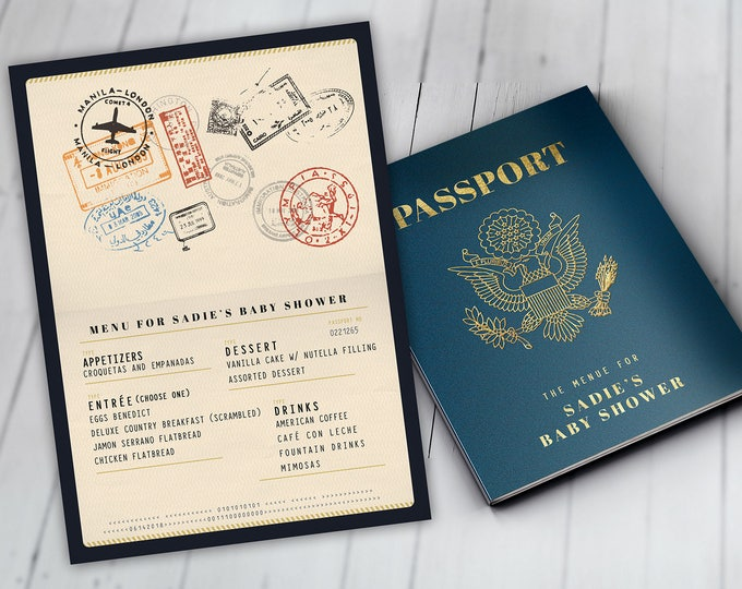 Menu, passport, precious cargo,, travel theme, travel party, Digital file only, Graduation, baby shower, birthday, wedding.