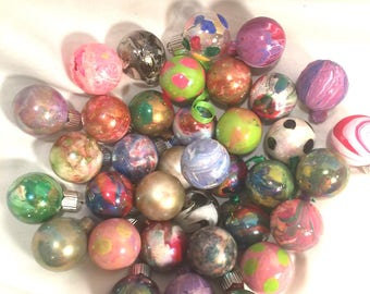 Small Hand Painted Glass Christmas Ornaments YOU PICK 3 Any  Color Combination Mix & Match  Tiny