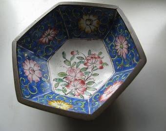 chinese cloisonne mixed metal copper bronze rectangular bowl
