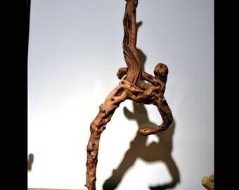 Capoeira dancer abstract driftwood sculpture
