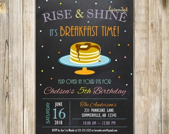RAINBOW RISE and SHINE Breakfast Birthday Invitation, Chalkboard Rainbow Confetti Pancakes & PJs Party Invite, Rise N Shine Birthday Brunch