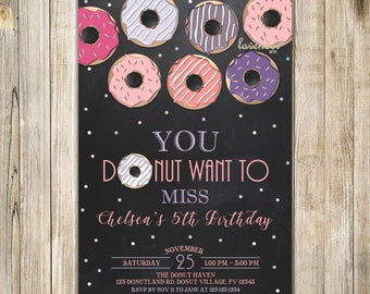 CHALKBOARD DONUT Birthday Invitation, Pink Purple Breakfast Birthday Invite, Girl 10th Birthday, Donut and Pajamas, Donut Want to Miss, LA22
