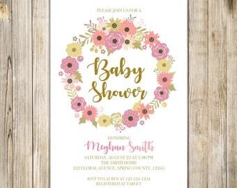 FLORAL WREATH BABY Shower Invitation, Floral Baby Shower Invite, Baby Shower Brunch, Floral Tea Party, Botanical, Woodland Baby Invites LA28