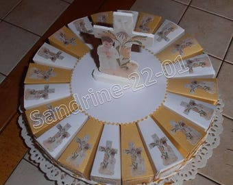 """20 cake boxes """"communion"""" boy white and gold"""