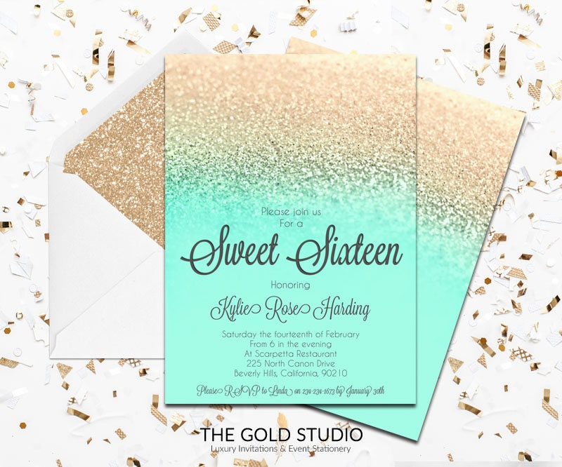 Mint Green & Gold Sweet 16 Invitation | Turquoise Gold Glitter Sweet ...