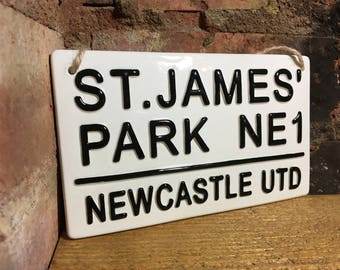 NEWCASTLE UTD-St James Park-London Street Signs-Football wall Sign-Football Plaque-Kids room decor-Dads-Mans cave-Gifts for him-Fathers Day