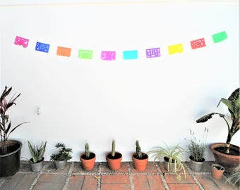 small papel picado, small mexican banner, small rectangle bunting, mexican party decor XS