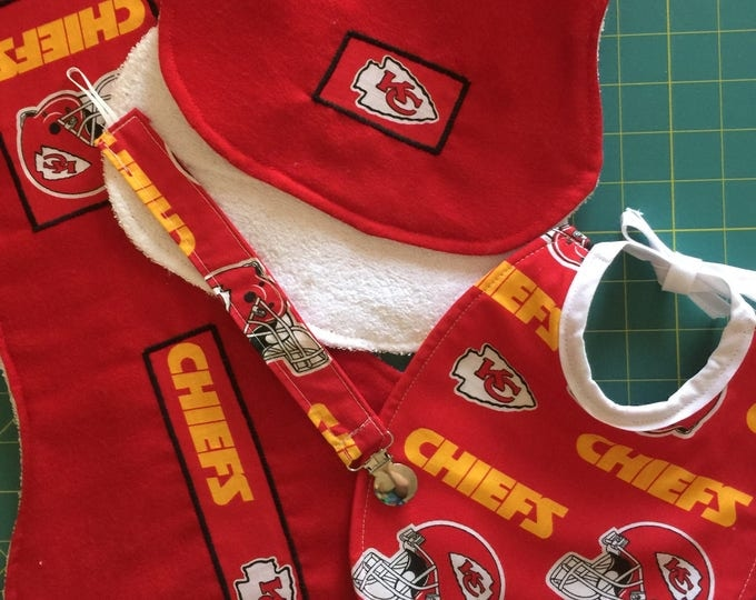 Baby Bib Gift Set, Kansas City Chiefs Inspired Fabric Design, Bib, Burp Cloths and Pacifier Clip