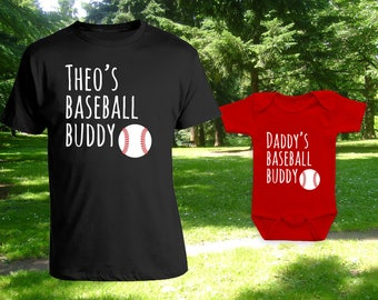 Baseball buddies matching tshirt set, matching father son, father daughter t-shirts, father's day gift, birthday gift, Bodysuit CT-1222-1223