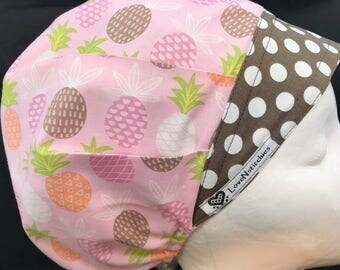 Pineapples Surgical Caps Scrub Hats for Women Bouffant Hat Scrub Tech OR Nurse Sleep Vet LoveNstitchies Gray Pink Green