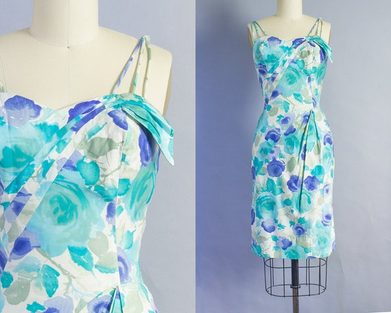 1950s Watercolor Rose Print Wiggle Dress   Small