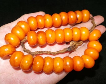 Old Nepal Tibet Ethnic Golden Yellow Rondelle Resin Bead Necklace II