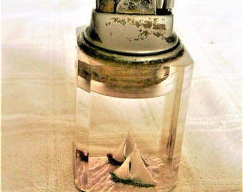 Vintage Mid Century Lucite Table Lighter Withs Sail Boats On Inside of Lucite