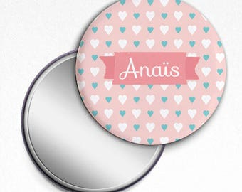Pocket mirror Pink Hearts gift 58 mm personalized (name)