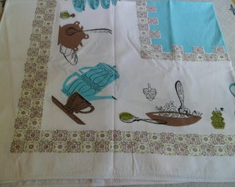 "Vintage Simtex Tablecloth ""Koffee Klatch"" 42 x 53"" Turquoise Aqua Mid Century Kitsch!"