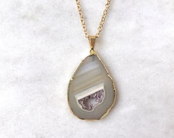 Geode Slice Necklace, Amethyst Crystal Agate Pendant Raw Quartz Druzy Stone
