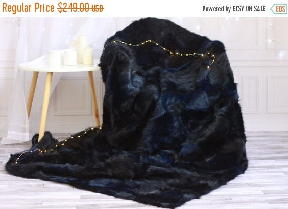 On Sale Sheepskin Throw Navy Blue Bed Throw Navy Fur Throw