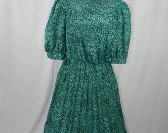 Vintage 70s/80s Tea Length Green and Black Dress