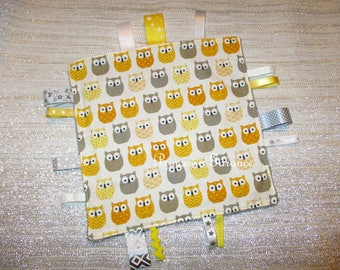 Taggy, cotton, little owls, minky dot gray, to order