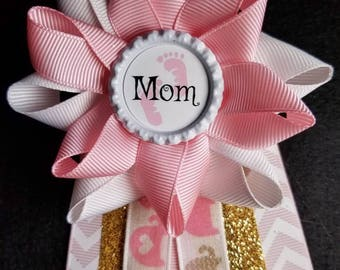 "Beautiful ""MOM"" Baby Shower pin-Pink and  gold with elephants."