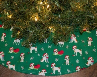 Christmas Tree Skirt-Jack Russell Terrier-Dog-Puppy-Stocking-Christmas Lights-Decoration-Tree Skirt-Holiday Decor-Dog Decoration- 36""