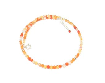 Necklace with natural stones and 925 Silver - Orange Agate