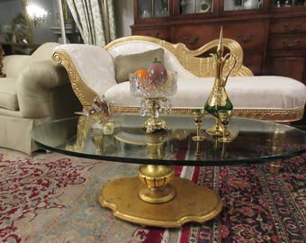 ITALY GOLD LEAFED Glass Coffee Table
