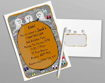 Personalised Ghost Invitation, Personalised Invitation, Digital Invitation, Printed Invitation, Invitations and Envelopes