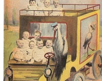 Vintage Early 1900's Multiple babies Stork Postcard