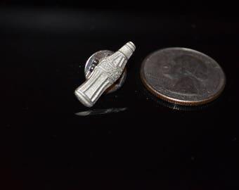 Vintage Coca Cola Silver Bottle Lapel Pin