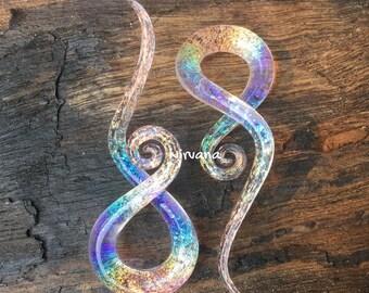 """1 Pair - Translucent Pink Translucent Rainbow Dichroic Glass Note Spirals 10g 8g 6g 4g 2g 0g 00g 7/16"""" 1/2"""" 9/16"""" 5/8""""  3 mm 4 mm  - 16 mm"""