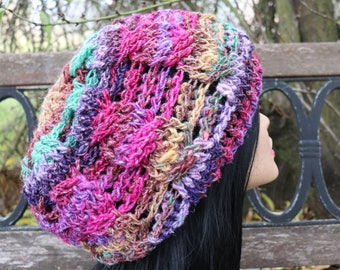 Silk Garden cable stitch beanie for teen or adult