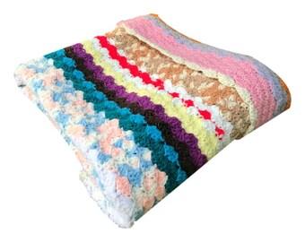 Throw Blanket | Vintage Rainbow Crochet Blanket  | Handmade Multicolor Crochet Blanket | Handmade Crochet Afghan | Quilt