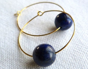 Midnight Blue earrings in brass gold and natural stones.