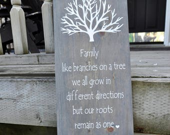 Family. Like branches on a tree we all grow in different directions but our roots remain as one.