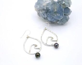 Sterling Silver Tahitian Pearl Wave Earrings