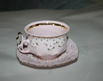 NEW PRICE Tea Cup & Saucer Original Rosa Porzellam, Hand Painted, Czechoslovakia Number 12 H and C, A Must SEE,