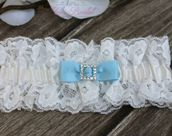 FAST Shipping!!!!  Beautiful Ivory Wedding Garter, Bridal Garter, Garter, Rhinestones Garter, Something Blue, Blue Wedding Garter